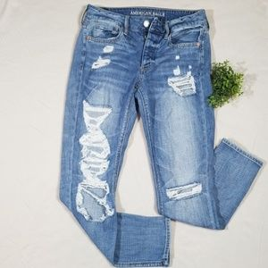 American Eagle Tomgirl Button Fly Destroyed Jeans